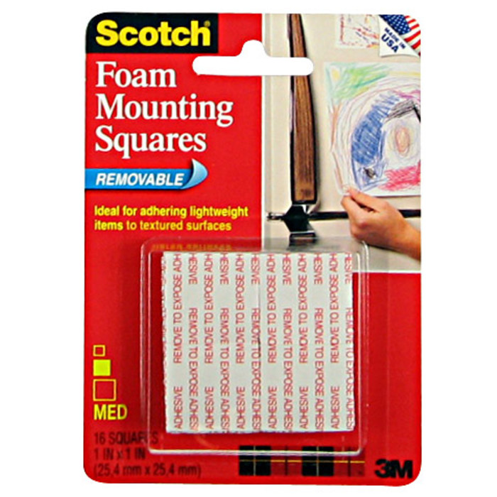 1-inch x 1-inch - .2 Items 48-Squares White 311P 48-Squares Scotch Indoor Mounting Squares 311P